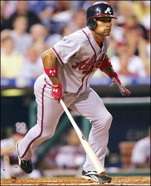 Rafeal Furcal after smacking the ball down the left field line.